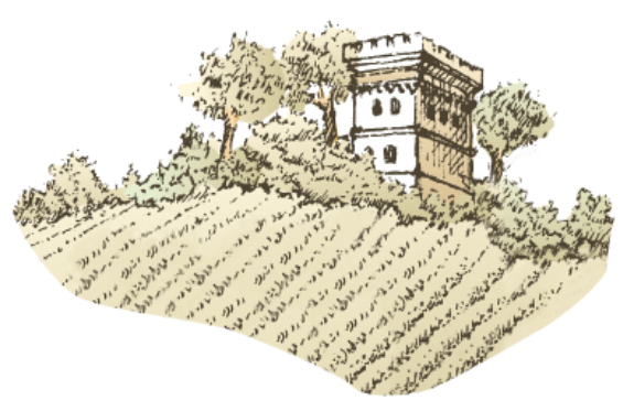 Terroir sketch of chateau and field of vines